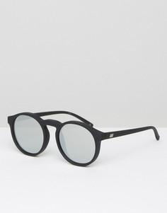 Круглые солнцезащитные очки с серебристыми стеклами Le Specs - Черный