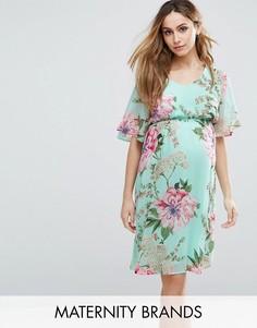 Чайное платье с цветочным принтом Mamalicious - Синий Mama.Licious