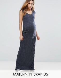 Трикотажное платье макси без рукавов Mama.licious Easy - Темно-синий