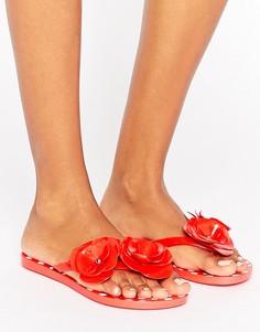 Шлепанцы с декоративными цветками Zaxy Fresh - Красный