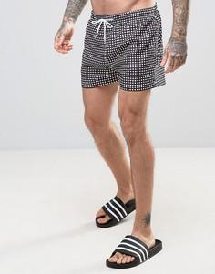 Монохромные шорты для плавания в клеточку Kiss This - Черный