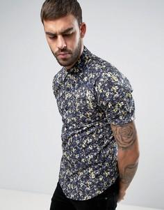 Узкая рубашка с цветочным принтом Another Influence - Синий