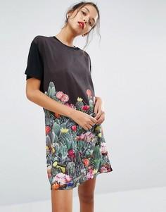Платье-футболка с кактусами PS by Paul Smith - Черный