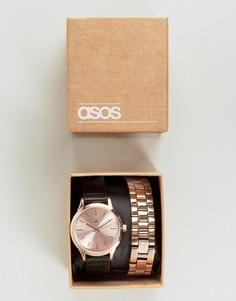Часы со сменными ремешами черного и золотисто-розового цвета ASOS - Черный