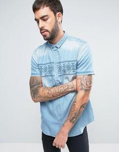 Джинсовая рубашка с короткими рукавами и ацтекской вышивкой Brave Soul - Синий
