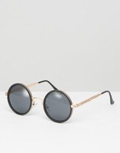 Черные круглые солнцезащитные очки в оправе цвета розового золота ASOS - Черный