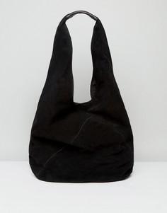 Замшевая сумка на плечо ASOS - Черный