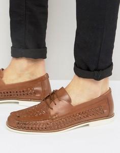 Светло-коричневые кожаные плетеные туфли KG By Kurt Geiger - Рыжий