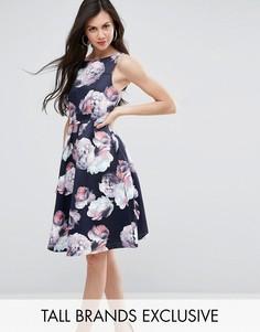 Плиссированное платье миди с цветочным принтом для выпускного Y.A.S Studio Tall Liana - Мульти
