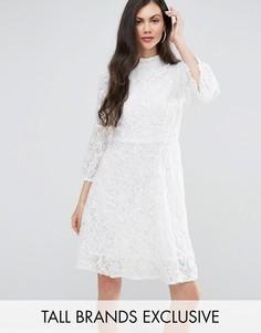 Кружевное короткое приталенное платье Y.A.S Studio Tall Kanna - Белый