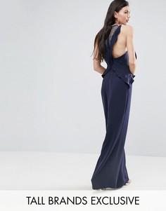 Комбинезон с кружевом на спине и оборками Y.A.S Studio Tall Pedrine - Темно-синий