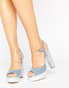 Джинсовые сандалии на платформе и каблуке Terry de Havilland Coco - Серебряный