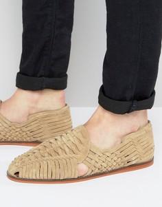Серо-бежевые плетеные сандалии из замши ASOS - Светло-серый
