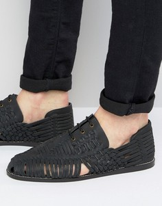 Черные плетеные сандалии из нубука на шнуровке ASOS - Черный