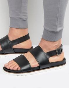 Черные кожаные сандалии на танкетке ASOS - Черный