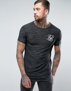 Черная футболка из вафельной ткани с асимметричным краем SikSilk - Черный