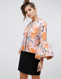 Нарядная жаккардовая куртка с расклешенными рукавами ASOS Premium - Мульти
