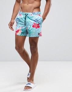 Короткие шорты для плавания с цветочным принтом и логотипом ASOS - Синий