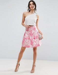 Розовая жаккардовая мини-юбка с завышенной талией ASOS - Мульти
