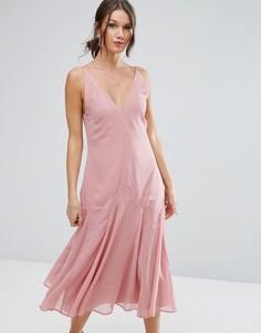 Платье миди в стиле 30-х ASOS - Розовый