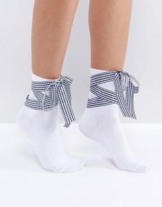 Носки с клетчатым бантом из ленты ASOS - Белый