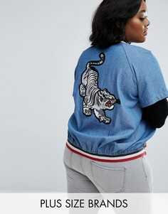 Бомбер из ткани шамбре с вышивкой тигра Elvi - Синий