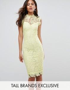 Кружевное платье-футляр с высоким воротником Paper Dolls Tall - Желтый
