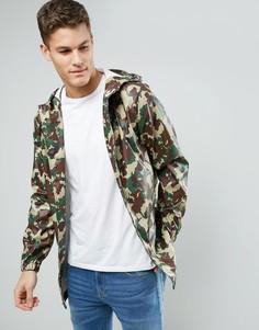 Камуфляжная водонепроницаемая куртка с капюшоном D-Struct - Зеленый