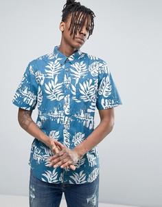 Синяя рубашка с гавайским принтом Vans JT Solana VA315W3MC - Синий