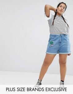 Джинсовые шорты с вышивкой Daisy Street Plus - Синий