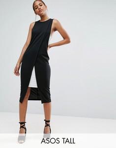 Платье-футляр в стиле колор блок с запахом ASOS TALL - Мульти