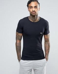 Облегающая футболка с логотипом и круглым вырезом Emporio Armani - Черный