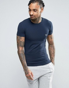Облегающая футболка с логотипом и круглым вырезом Emporio Armani - Темно-синий