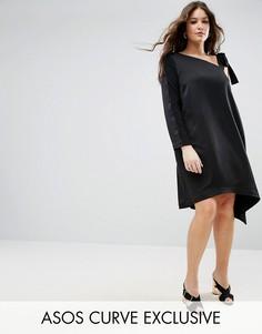 Платье на одно плечо с асимметричным низом ASOS CURVE - Черный