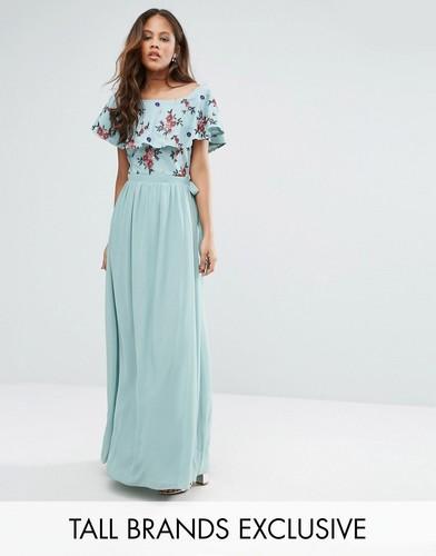 Платье макси с цветочной вышивкой Little Mistress Tall - Зеленый
