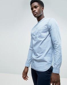Джинсовая рубашка стандартного кроя с воротником на пуговице Kiomi - Синий