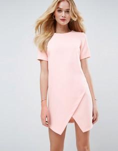 Асимметричное цельнокройное платье с короткими рукавами ASOS - Розовый