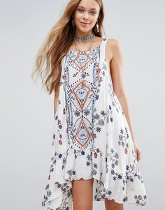 Платье с принтом Free People Ankka Boarder - Белый