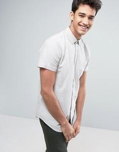 Рубашка из хлопка и льна с короткими рукавами Threadbare - Светло-серый