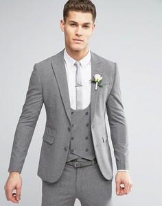 Серый суперузкий пиджак в мелкую клетку ASOS WEDDING - Серый