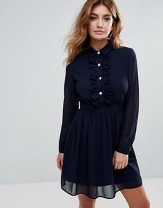 Короткое приталенное шифоновое платье на пуговицах Club L - Темно-синий