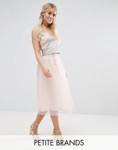 Пышная юбка миди для выпускного с искусственным жемчугом Little Mistress Petite - Розовый