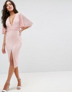 Плиссированное платье-кимоно миди ASOS - Бежевый