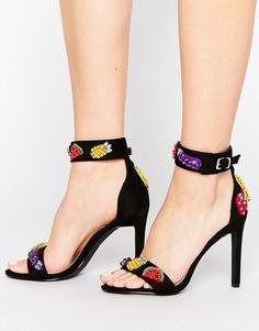 Легкие сандалии на каблуке с фруктами Public Desire Anne - Черный