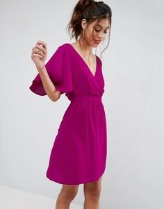 Платье мини с рукавами клеш ASOS - Розовый