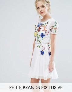 Короткое приталенное премиум-платье для выпускного с отделкой на лифе Frock And Frill Petite - Белый