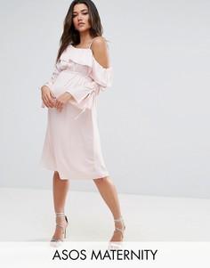 Платье миди на одно плечо ASOS Maternity - Розовый