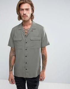 Рубашка классического кроя цвета хаки с отложным воротником ASOS - Зеленый