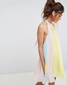 Плиссированное платье мини колор блок ASOS - Мульти