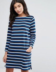 Трикотажное платье в бретонскую полоску с длинными рукавами YMC - Темно-синий